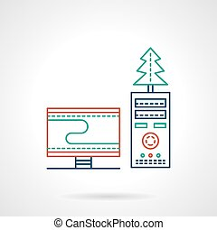 Christmas workplace flat color line vector icon