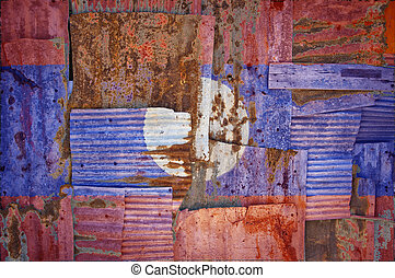 Corrugated Iron Laos Flag - An abstract background image of...