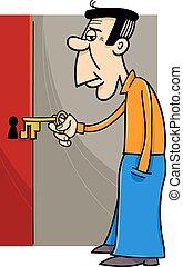 man with key cartoon