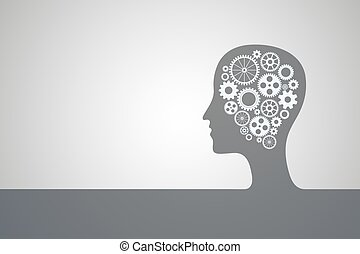 Human head bl - Human head with set of gears as a symbol...