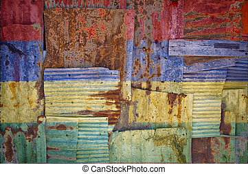 Corrugated Iron Mauritius Flag - An abstract background...