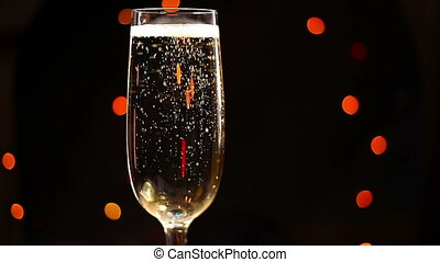 Bubbles inside a glass of champagne