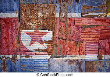 Corrugated Iron North Korea Flag - An abstract background...