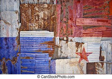 corrugado, hierro, Panamá, bandera,
