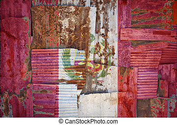 Corrugated Iron Peru Flag - An abstract background image of...