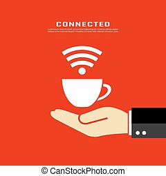 Internet cafe poster design - Internet cafe vector poster...