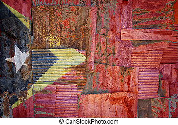 Corrugated Iron Timor Leste Flag - An abstract background...