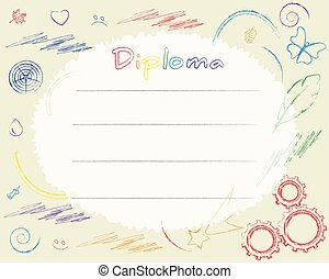 Preschool Elementary school. Kids Diploma certificate background design template. Drawn with colored pencils. School diploma
