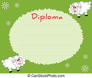 Preschool Elementary school. Kids Diploma certificate background design template. School diploma. Summer background with sheeps.
