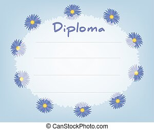 Preschool Elementary school. Kids Diploma certificate background design template. School diploma. Summer background with cornflowers
