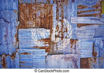 Corrugated Iron United Nations Flag