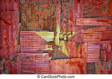 Corrugated Iron Vietnam Flag - An abstract background image...