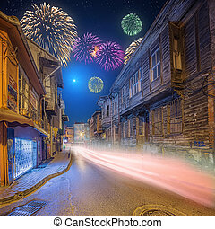 Beautiful fireworks above old streets of Istanbul by night...
