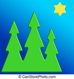 Christmas trees and star.eps - Illustration of the Christmas...
