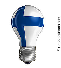 Light bulb with Finnish flag.  Image with clipping path
