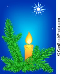 Coniferous branch.eps - Illustration of the Christmas card