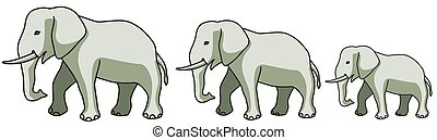 Elephants - Illustration of the cartoon elephants group