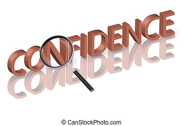confidence search - Magnifying glass enlarging part of red...