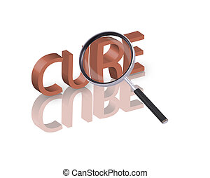 cure search - Magnifying glass enlarging part of red 3D word...
