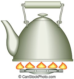 Teapot on burner - Illustration of the teapot on gas-stove...