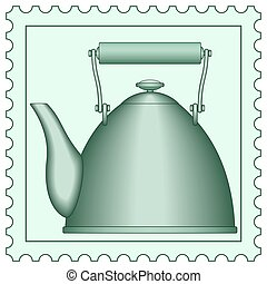 Teapot on stamp - Illustration of the teapot on postage...