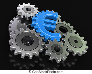 Cogwheel euro Image with clipping path