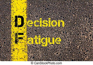 Business Acronym DF Decision Fatigue - Concept image of...
