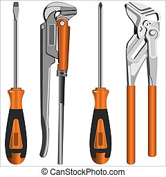 locksmith tools - adjustable gas keys and a screwdriver with...