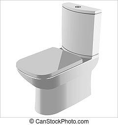 toilet - pure white ceramic toilet on white background...
