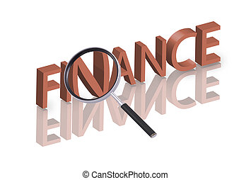finance search - Magnifying glass enlarging part of red 3D...