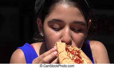 Girl Eating Hot Dog Lunch