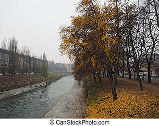 Dora river banks - Banks of Dora Riparia river in winter in...