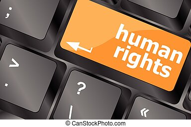 arrow button with human rights word, vector illustration -...