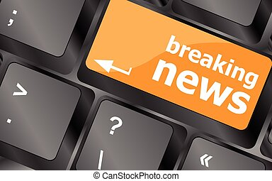 breaking news button on computer keyboard pc key, vector illustration