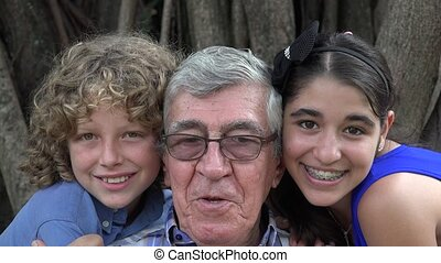 Grandfather and Grand Kids Silly - Grandfather and Grand...