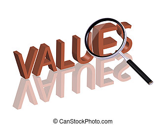 values search - Magnifying glass enlarging part of red 3D...