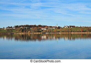 Idyllic landscape at Lake Pfaffikon
