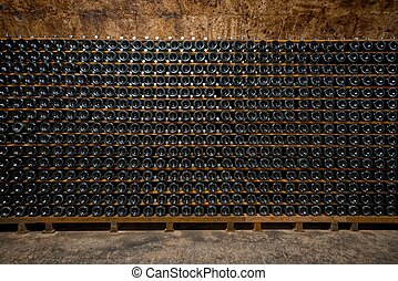 Long underground brick tunnel in the wine cellar - Long...