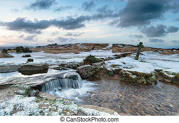 Snowy Dartmoor - Snowy winter dawn at Windy Post on Dartmoor...