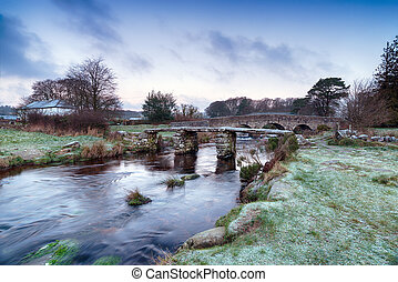 Dartmoor National Park - A cold frosty morning on the East...