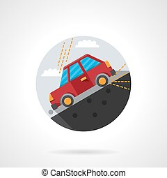 Car on a slope round flat color vector icon - Red car going...