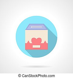 Charity container round flat color vector icon
