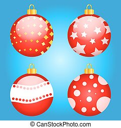 set of multi-colored Christmas toys vector