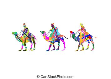 abstract three wise men - Christian Christmas scene with the...