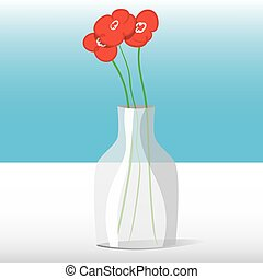 Red flowers in vase - Three red flowers in a glass jar on a...