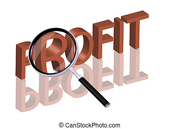 profit search - Magnifying glass enlarging part of red 3D...