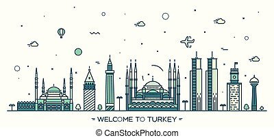 Turkey skyline vector illustration linear style