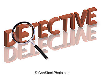 detective search - Magnifying glass enlarging part of red 3D...