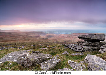 Stormy Dartmoor - Rain clouds over Dartmoor National Park in...
