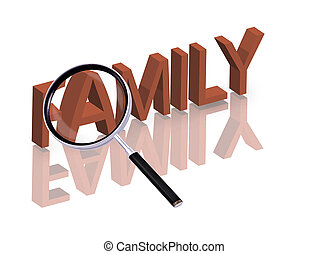 family search - Magnifying glass enlarging part of red 3D...